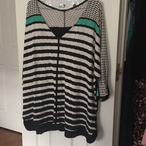 Abstract Stripe Patterned Lane Bryant Tunic